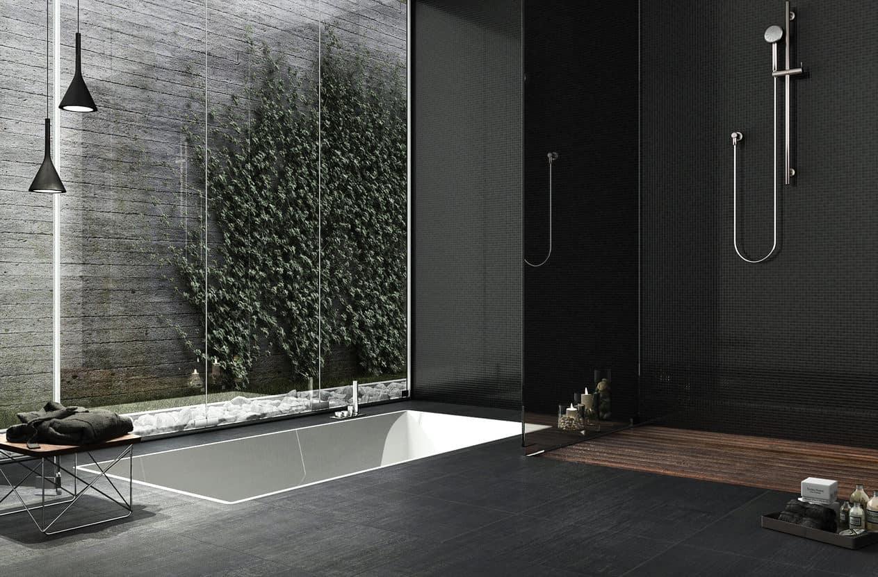 Modern bathroom with black walls and floor