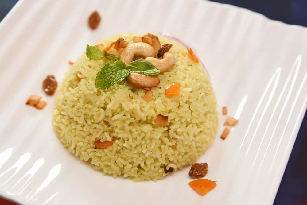 Cashew garnishing on rice