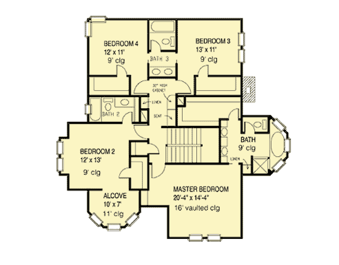 Second floor layout of Victorian house