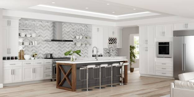 The white shaker cabinets of this kitchen match perfectly with the white tray ceiling and are complemented by the shaker design on the gray kitchen island.