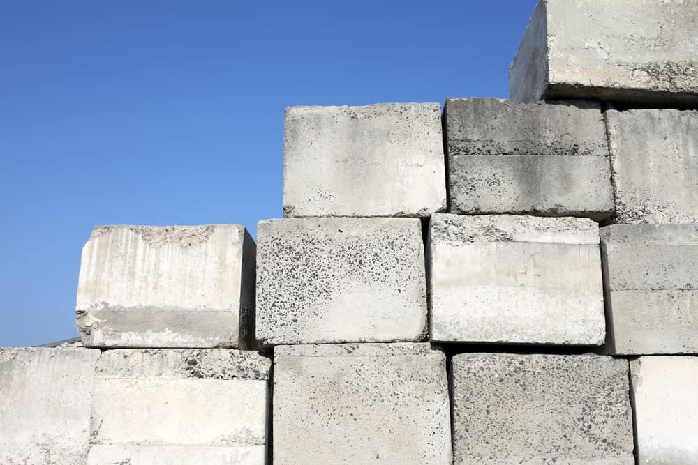 Solid concrete blocks used to build a wall