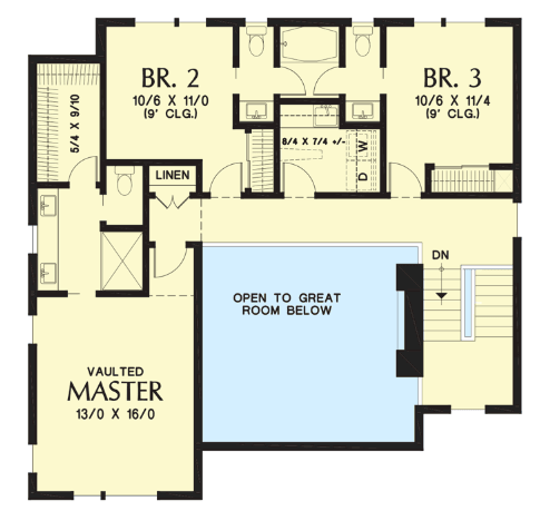 Split level house floor plan 2nd level-min