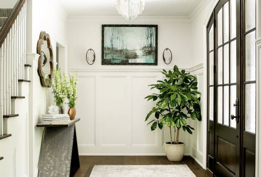 The white walls of this small foyer has white wainscoting that is adorned with a potted plant on the corner beside the dark wooden main door that has built-in windows bringing in natural lights on the white area rug over the dark hardwood flooring.