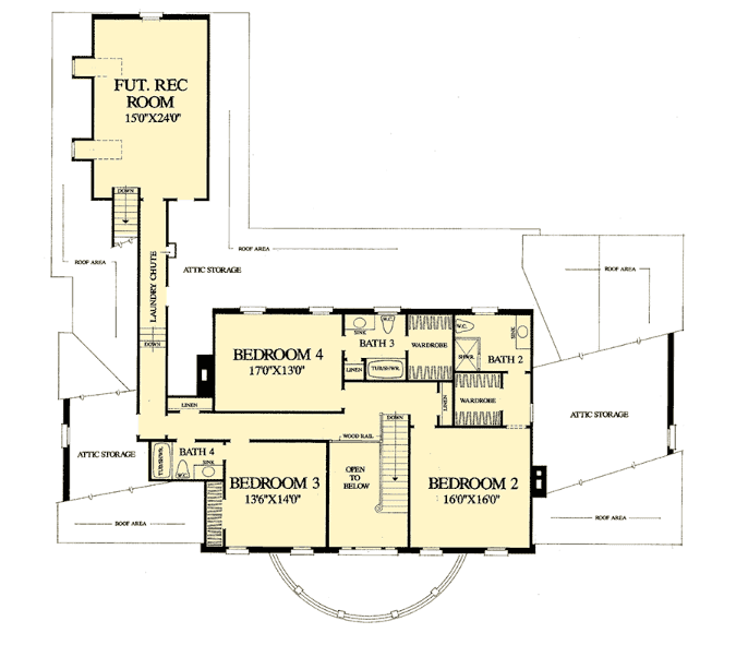 Upper floor layout of Georgian style house