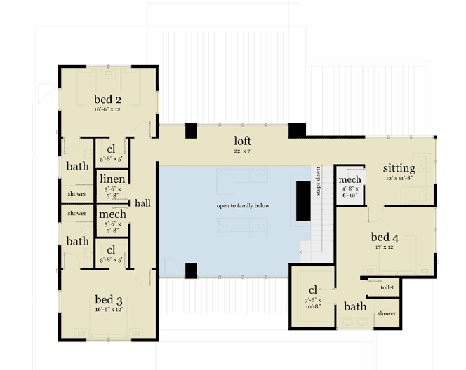 Upper floor of four bedroom house floor plan layout
