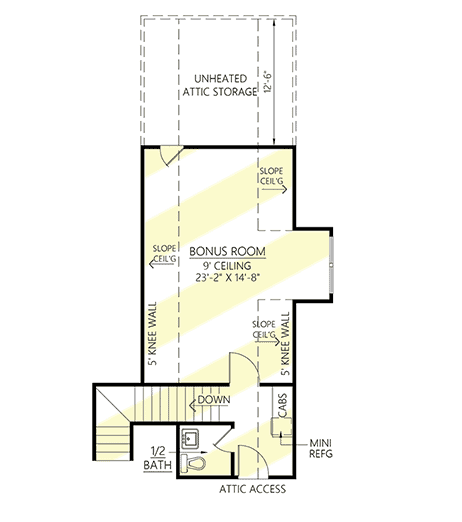 Upper level floor plan of modern farmhouse style house