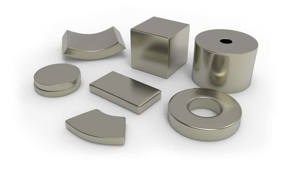 Silver magnets of different shapes