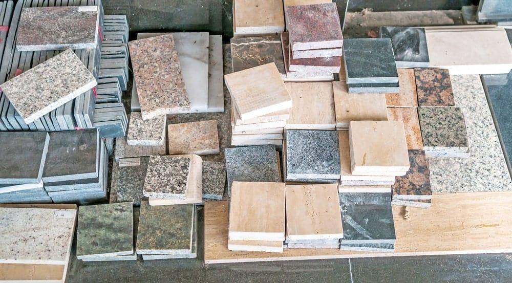 Flooring tiles made using granite