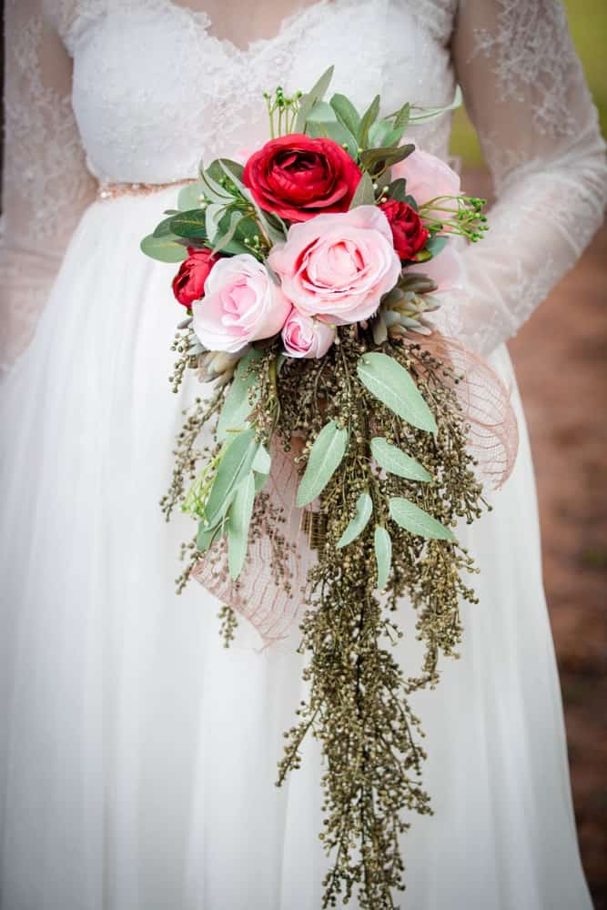 Long red bouquet