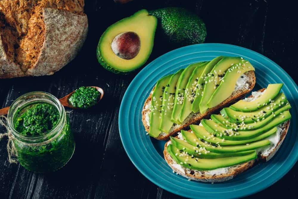 Guacamole breakfast and a jar of avocado mash.