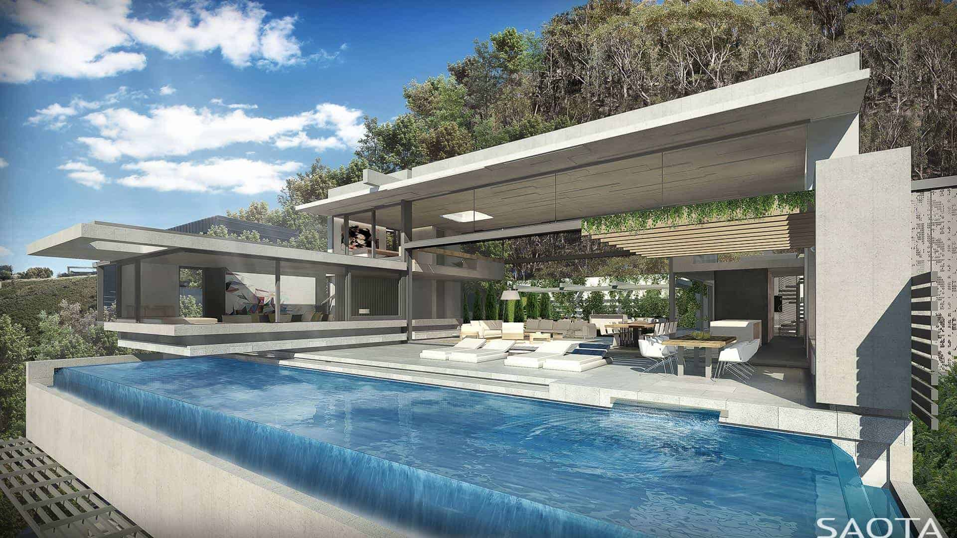A gorgeous contemporary home designed by SAOTA. It offers a breathtaking swimming pool and other outdoor amenities.