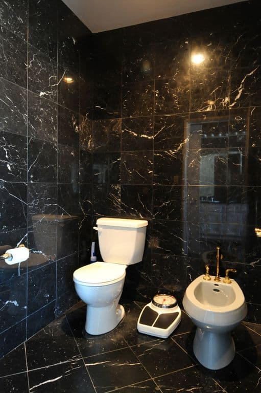 This black marble-tiled bathroom has pure white porcelain toilet that stands out against the sleek black background.