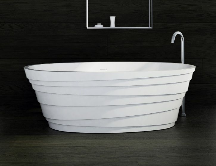 This is a brilliant freestanding bathtub with stylish lines in its design. It stands out against the black floor and wall.