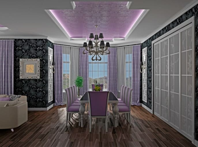This is a lovely dining room with black floral wallpapers and purple-tinged chairs surrounding a black surface table.