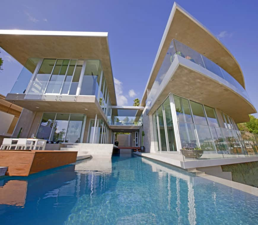 Contemporary home with a stunning outdoor area with a swimming pool.