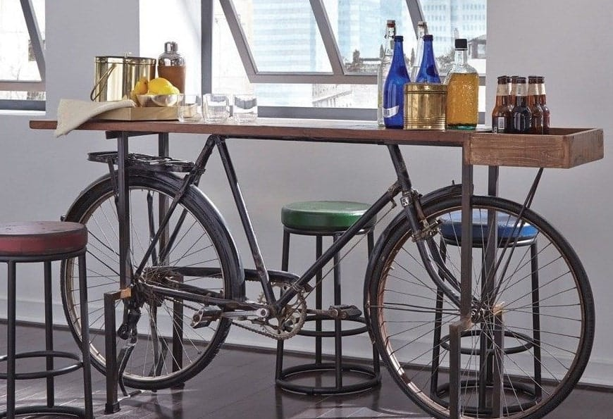 "72"" Dining Table Old Vintage Bicycle Base"