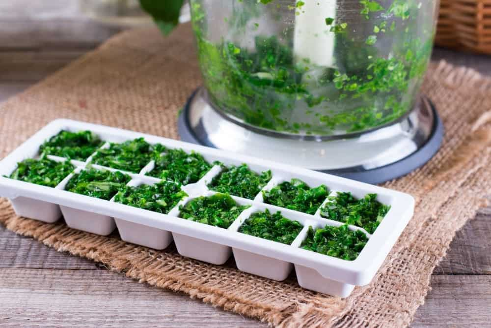 Frozen parsley cubes are perfect for soup and sauce dishes. Just add one cube and let the heat melts the ice.