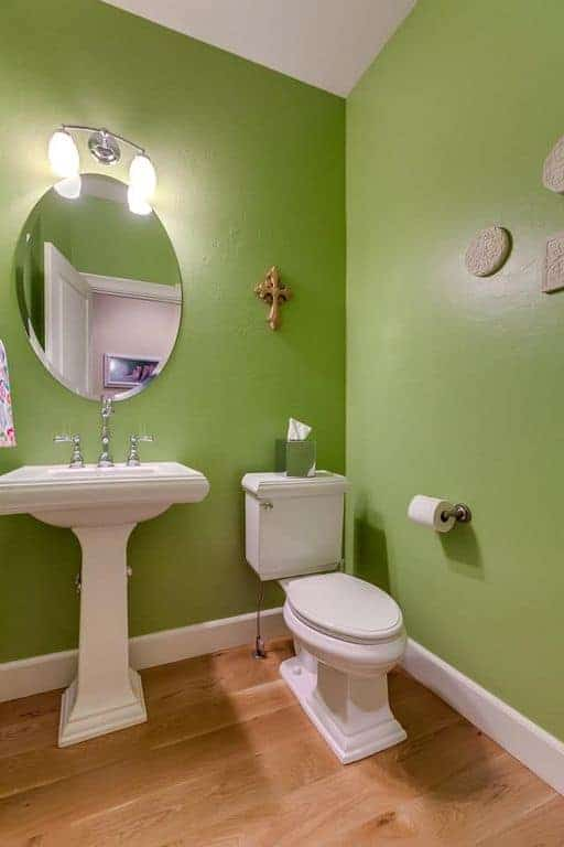 This is a simple green-walled bathroom with a white toilet and a sink with porcelain stand topped with an elliptical borderless mirror.