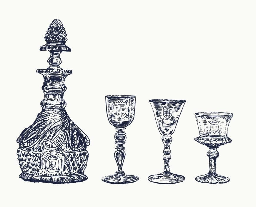 Sketch of decanters