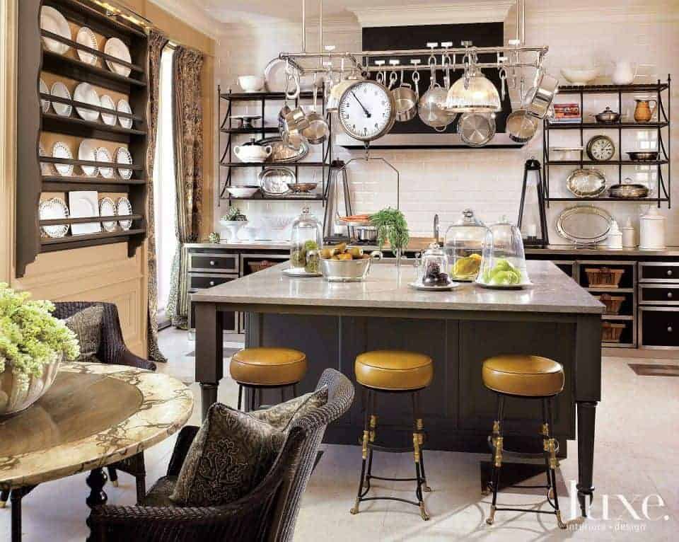 A beautiful kitchen setup featuring a center island with space for a breakfast bar with charming bar stools.
