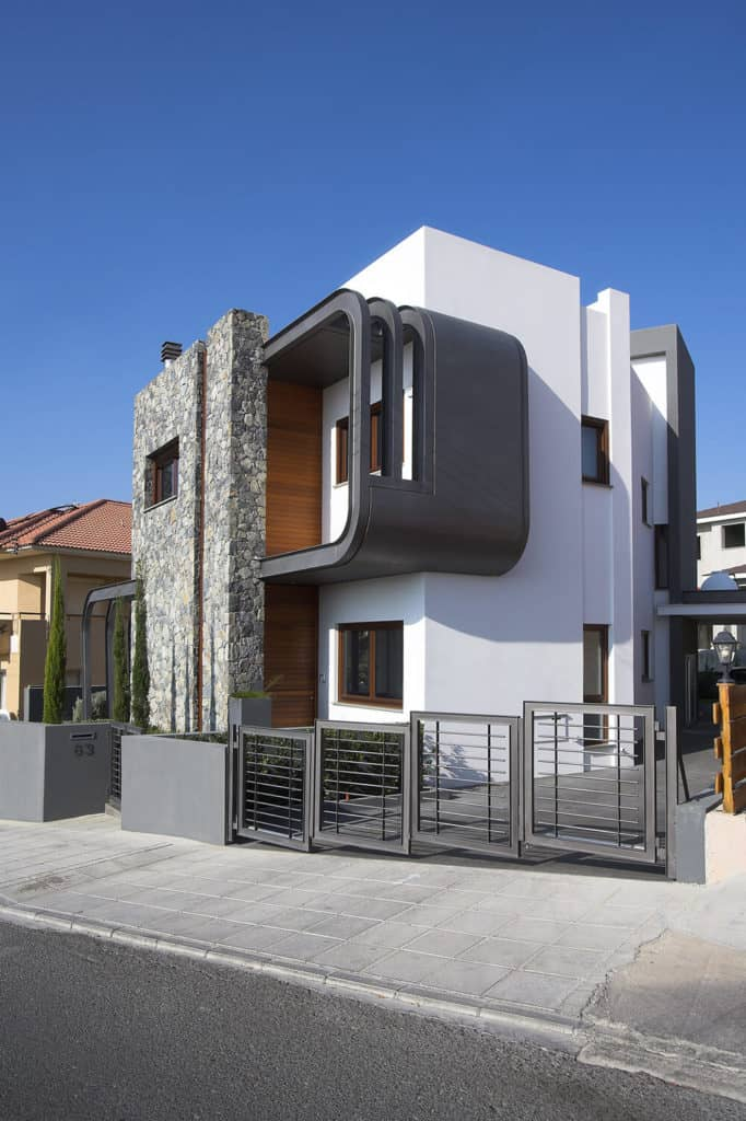 A contemporary house with an interesting exterior design.