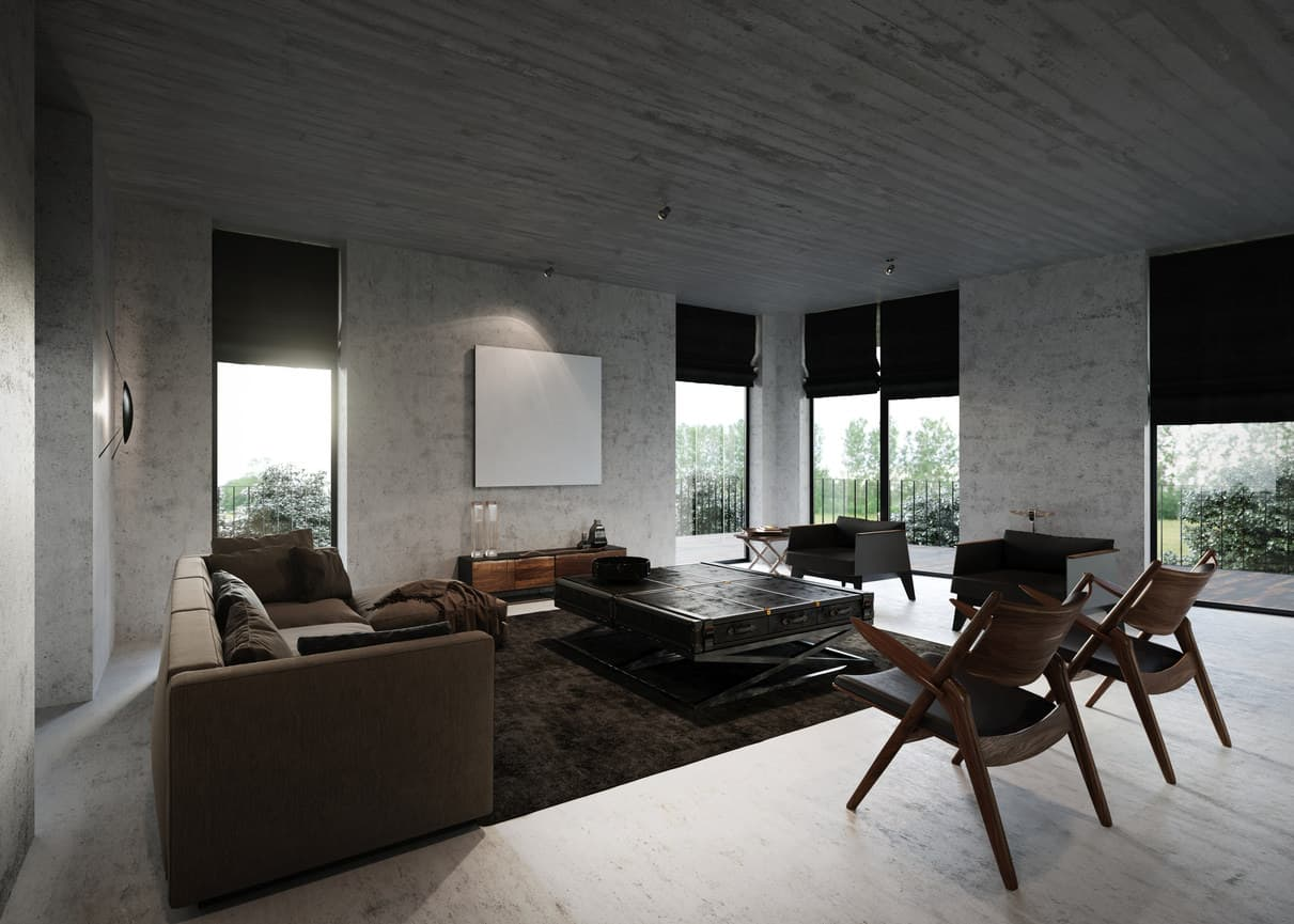 Living room with a huge coffee table