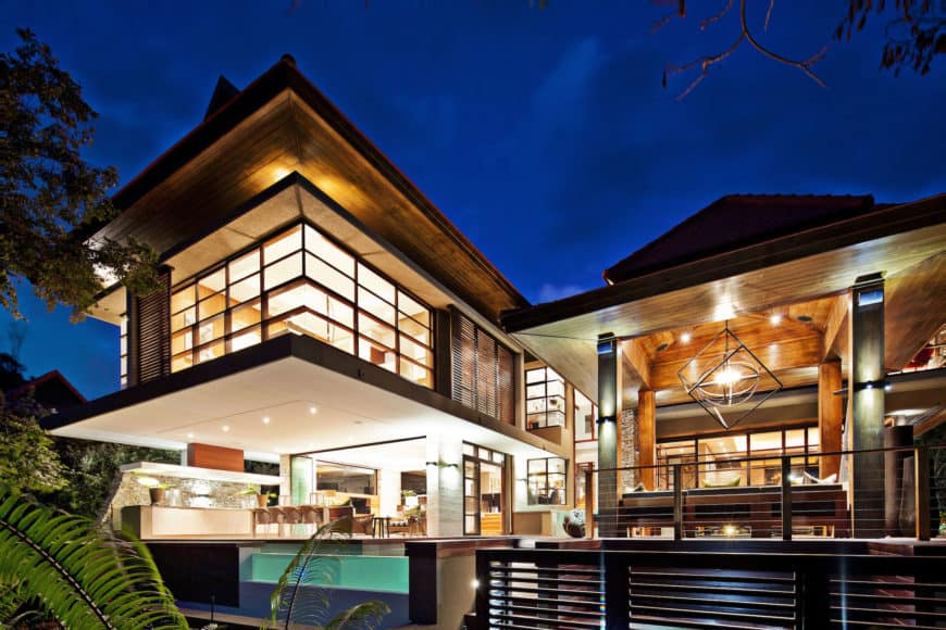 This contemporary house boasts a stunning exterior along with beautiful interior design.