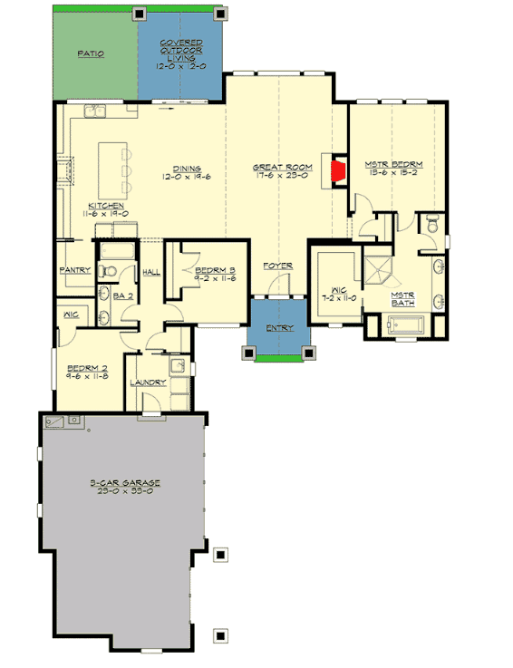 three bedroom single family home floor plan