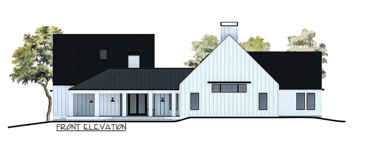Front elevation sketch of the 4-bedroom single-story contemporary country home.