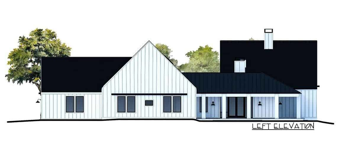 Left elevation sketch of the 4-bedroom single-story contemporary country home.