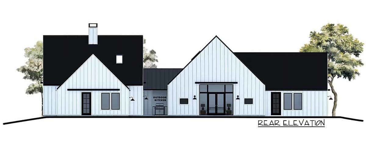Rear elevation sketch of the 4-bedroom single-story contemporary country home.
