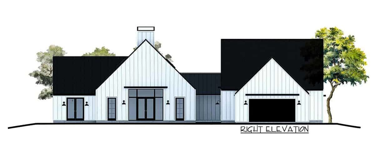 Right elevation sketch of the 4-bedroom single-story contemporary country home.