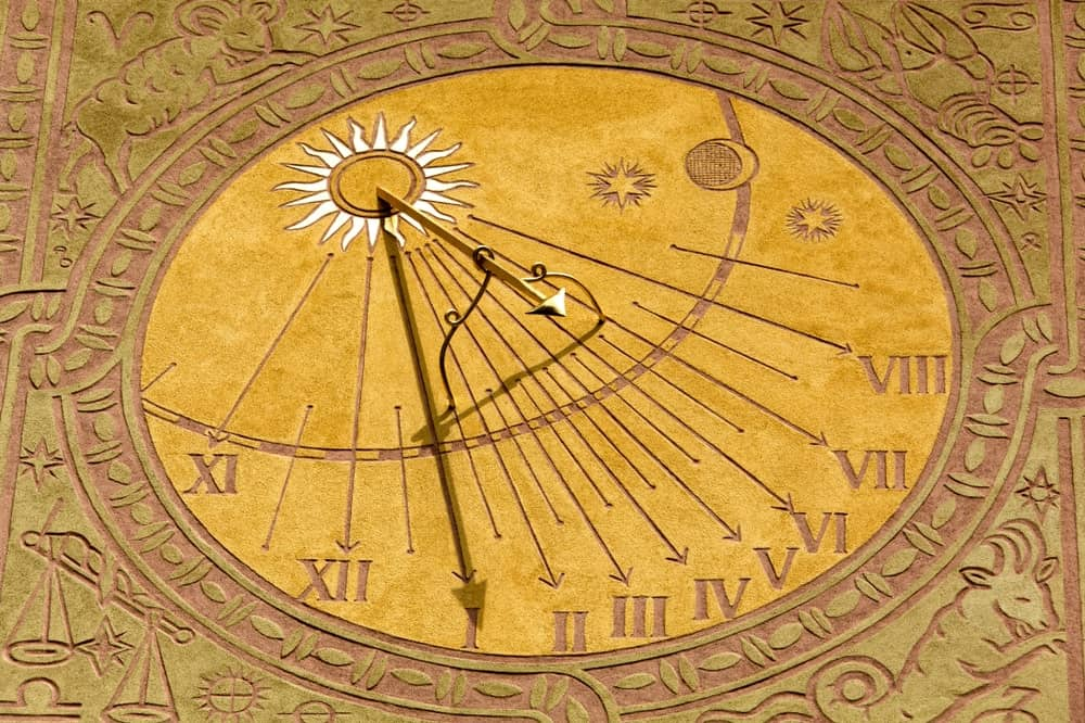 Close-up view of a sundial