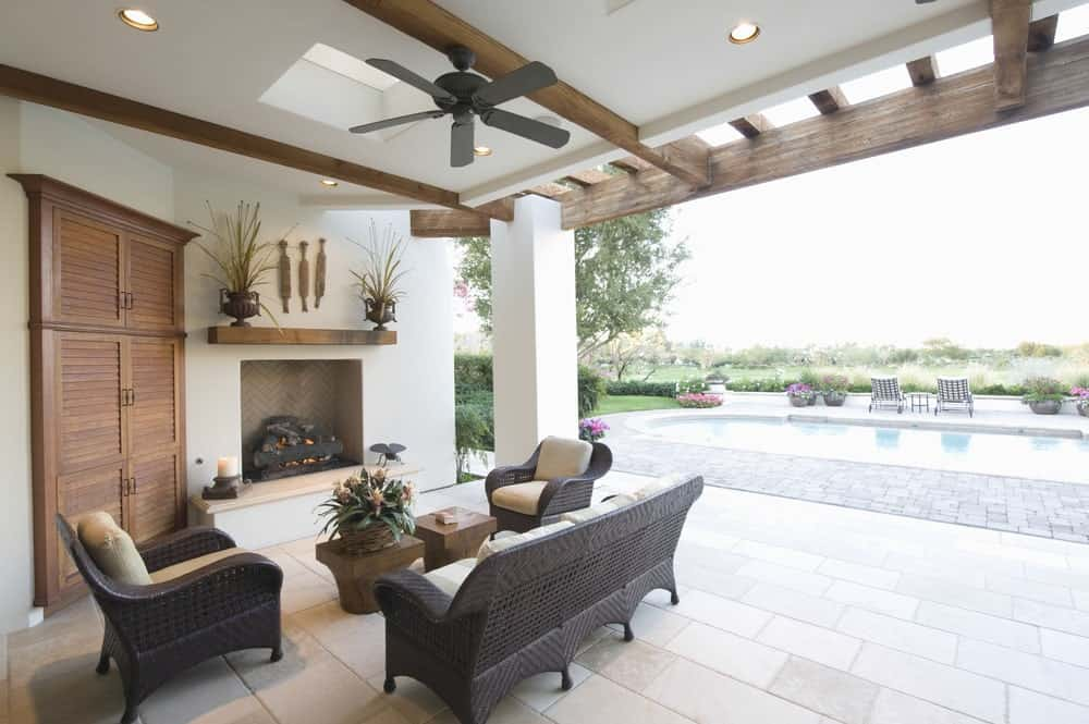 A Black-Colored Ceiling Fan in an Outdoor Room
