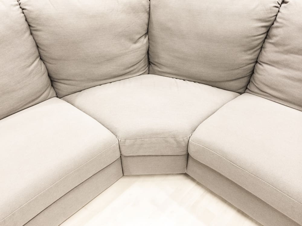 Close-up photo of a sectional sofa