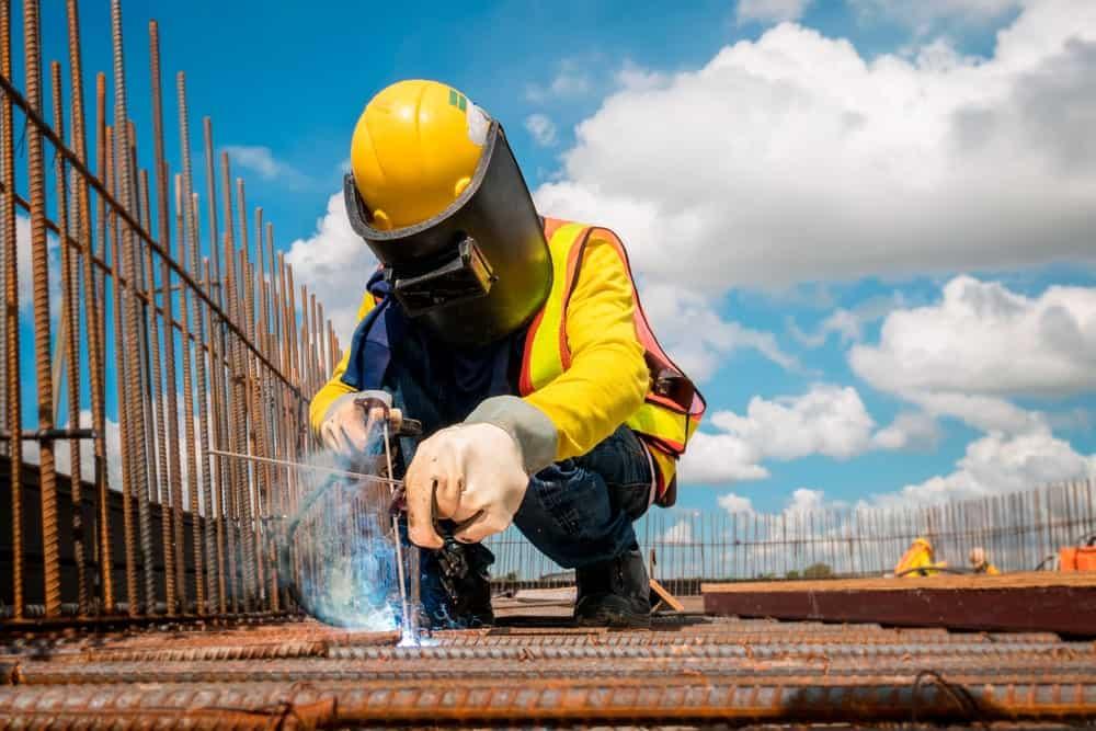 A construction welder on site