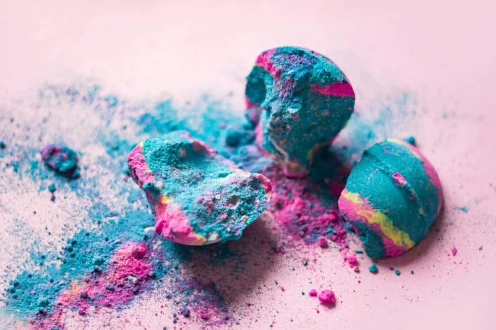 Crushed colorful bath bomb