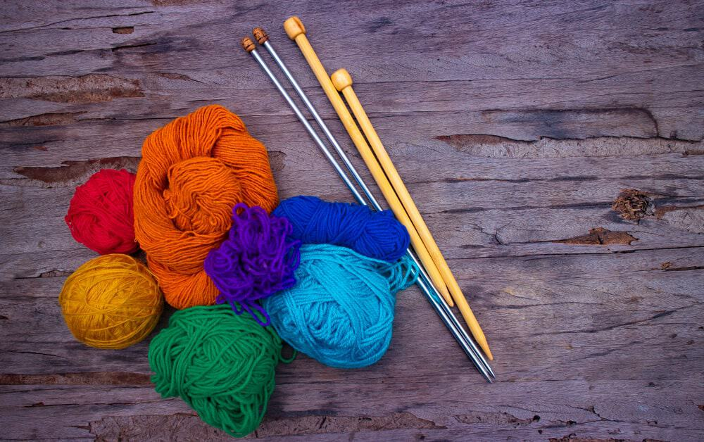 Colorful knitting yarn with needles