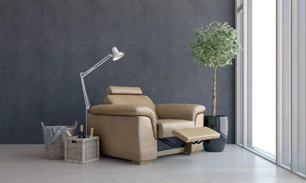 Nice looking beige leather recliner armchair