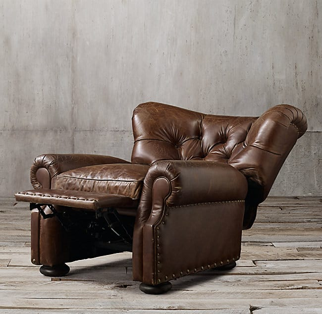 RH leather armchair in reclining position