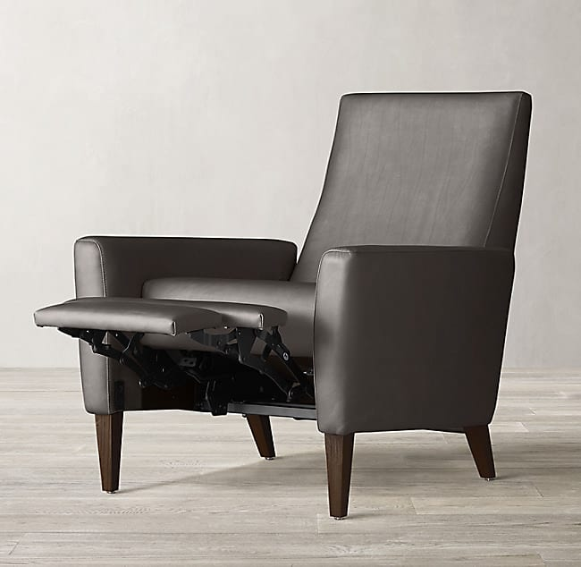 RH Flynn leather reclining armchair in reclining position