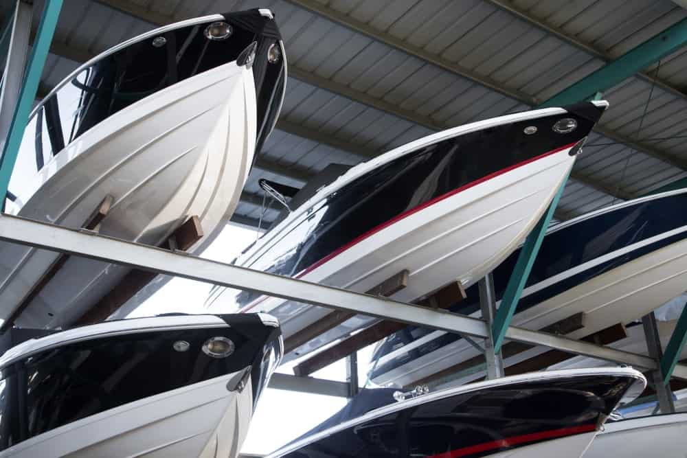 Pointed fiberglass hulls of speedboats