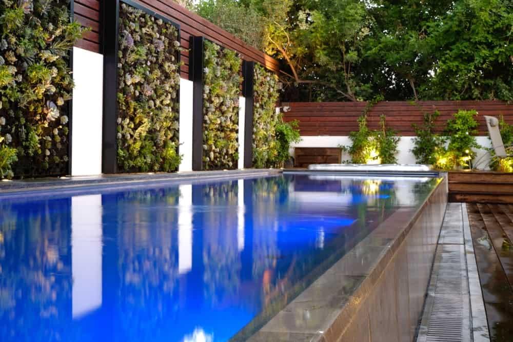 A swimming pool made of fiberglass