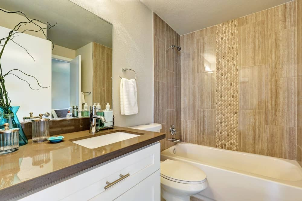 Asian-style primary bathroom with a sink and a shower and tub combo.