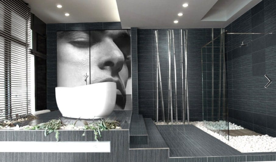 A modish Asian-style primary bathroom with black floors and walls, along with a walk-in shower and a freestanding tub with a large portrait wall decor on its side.