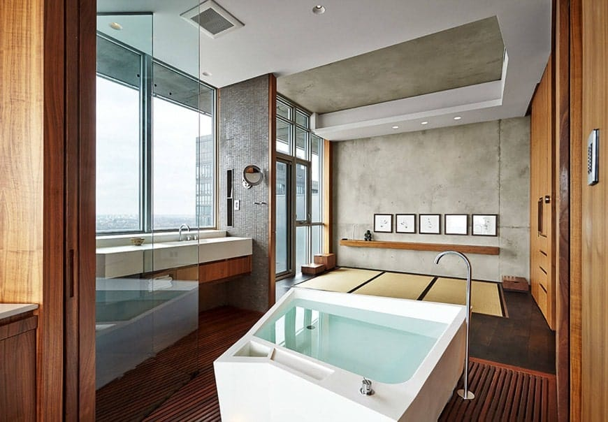 Large Asian-style primary bathroom featuring a freestanding soaking tub along with a walk-in shower room.