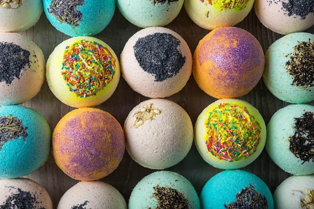 Multi-colored bath bombs.