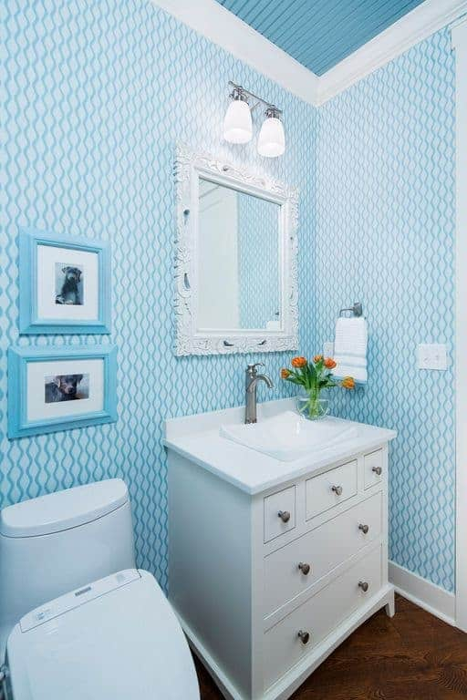 Clad in patterned wallpaper, this charming bathroom showcases blue framed photos and an ornate mirror mounted above the white sink vanity accented with potted flowers.
