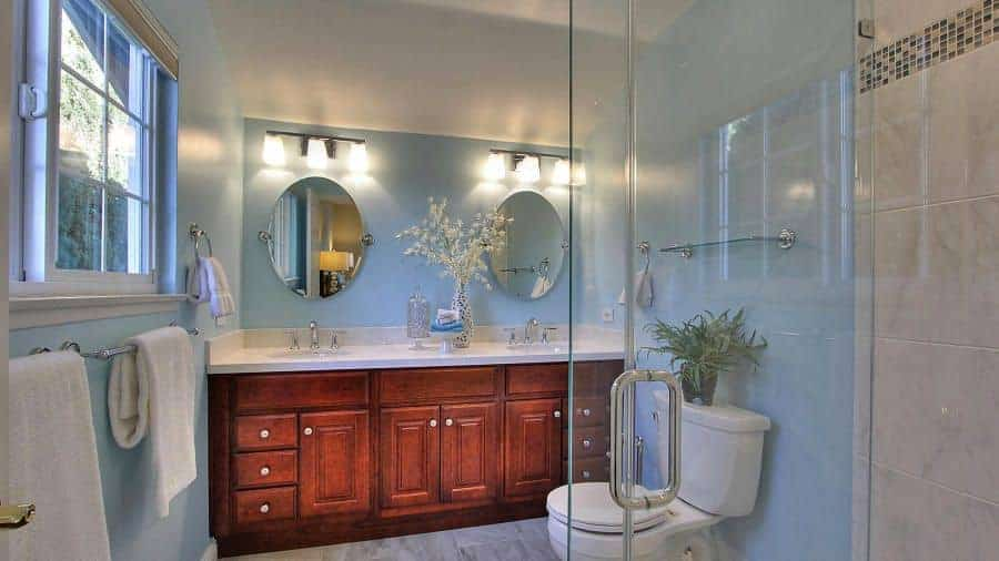 Fresh bathroom offers a toilet topped with a green potted plant and a dual sink vanity in natural wood paired with oval-shaped mirrors and sconces.