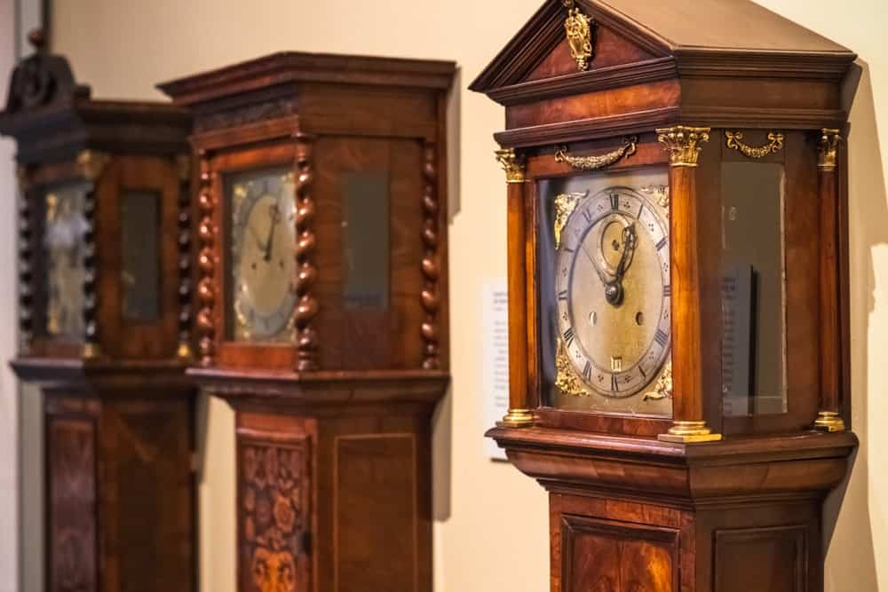 A trio of grandfather clocks